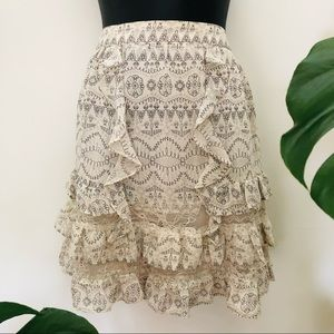 Portmans Tiered Floaty Frilled Lace Cream Skirt